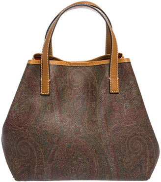 Etro Brown/Mustard Paisley Print Coated Canvas and Leather Tote
