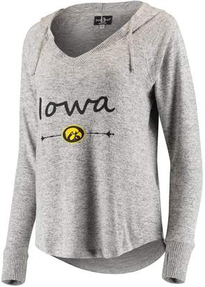 Unbranded Women's Heathered Gray Iowa Hawkeyes Cuddle Soft V-Neck Tri-Blend Hoodie