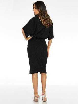 Quiz Scuba Crepe Glitter Double V-Neck Dress - Black