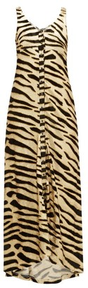 Paco Rabanne Velvet Tiger-stripe Jersey Maxi Dress - Womens - Gold Multi