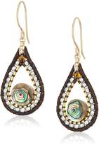 Miguel Ases Small Leather Enclosed Shell Tear Drop Earrings