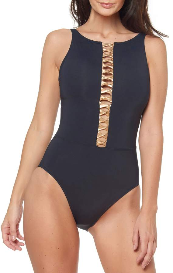 a80575f501 High Neck One Piece Swimsuit - ShopStyle