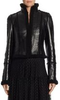 Akris Punto Short Shearling Lacquered Jacket