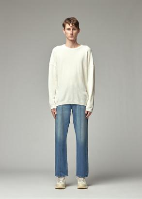 Our Legacy Men's Popover Roundneck Sweater in Cream White Cotton Nylon Size 46 Cotton/Polyamide