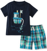 Kids Headquarters 2-Pc. Graphic-Print T-Shirt & Plaid Shorts Cotton Set, Baby Boys (0-24 months)
