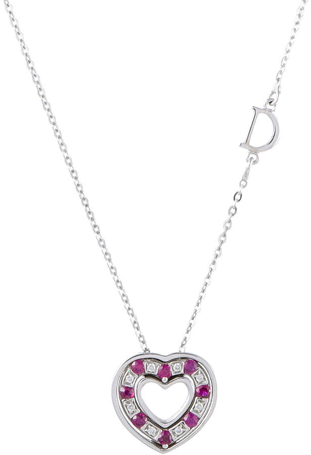 Damiani 18K 0.10 Ct. Tw. Diamond & Ruby Necklace