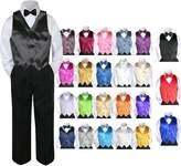 Leadertux 4pc Baby Toddler Kid Boy Party Suit BLACK Pants Shirt Vest Bow tie Set Sm-4T