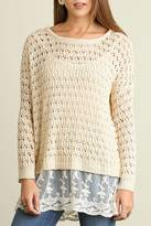 Umgee USA Knit Lace Sweater