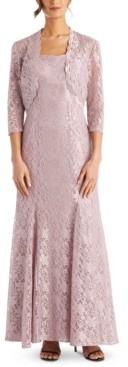 R & M Richards Scalloped Glitter-Lace Dress & Shrug