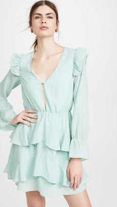 KENDALL + KYLIE Gauze V Neck Ruffle Dress