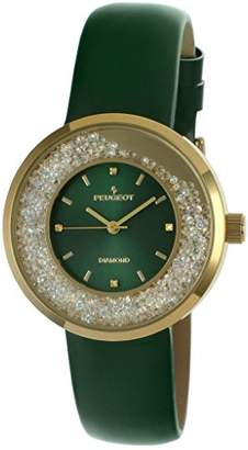 Peugeot Women's Genuine Diamond Marker Gold Tone Floating Crystal Watch