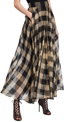 Akris Full Check High-Waist Silk Skirt