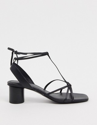 And other stories & leather square toe sandal with round heel in black