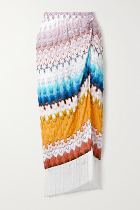 Missoni Fringed Metallic Crochet-knit Midi Skirt - White