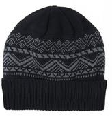 Muk Luks Men's Nordic Pattern Cap With Cuff And Fleece Lining - Black