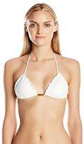Vix Women's Solid Off White Tri Bikini Top