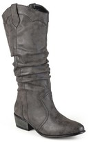 Journee Collection Women's Wide Calf Round Toe Slouch Western Boots
