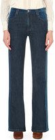See by Chloe Suede-effect flared high-rise jeans
