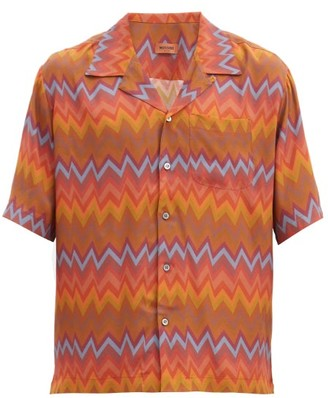 Missoni Cuban-collar Zigzag-print Crepe Shirt - Orange Multi