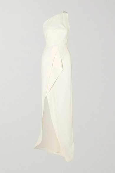 Roland Mouret Lilyvick One-shoulder Grosgrain-trimmed Draped Crepe Gown - White