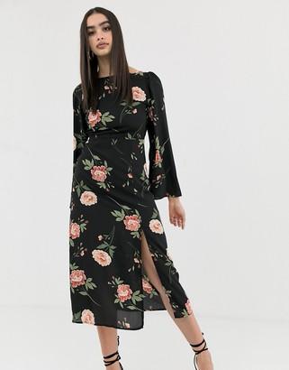 Fashion Union backless midi dress-Black
