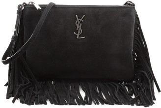 Saint Laurent Classic Monogram Fringe Zip Crossbody Bag Suede Small