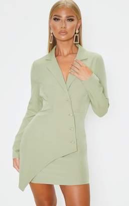 PrettyLittleThing Sage Khaki Button Detail Wrap Blazer Dress