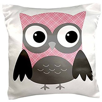 3dRose Cute Pink and White Plaid Owl, Pillow Case, 16 by 16-inch