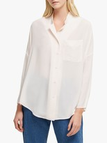 French Connection Crepe Convertible Collar Shirt, Magnolia