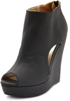 PeepToe Peep-Toe Cutout Wedge Bootie