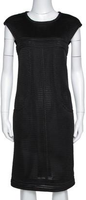Chanel Black Nylon Mesh Fitted Sheath Dress L