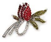 Avalaya Rhodium Plated Crystal Rose Brooch (Red, Burgundy, Green & Clear)