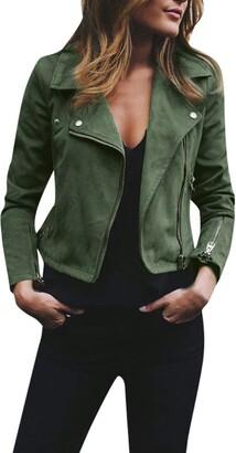 Kalorywee Coats KaloryWee Green Suede Jacket Women Slim Faux Leather Jackets Ladies Moto Biker Cool Zipper Short Coat Cardigan Blazer Winter Tops