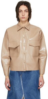 MM6 MAISON MARGIELA Beige Faux-Leather Crop Jacket