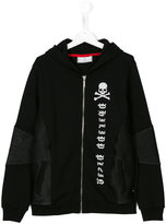 Philipp Plein Junior zip front printed hoodie