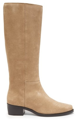 LEGRES Knee-high Suede Riding Boots - Grey