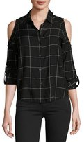 Generation Love Maisie Plaid Cold-Shoulder Shirt, Black/White