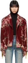 Gucci Red Oversized Tie-Dye Corduroy Blind for Love Jacket