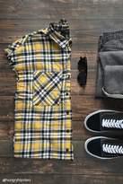21men 21 MEN Frayed Plaid Flannel Shirt