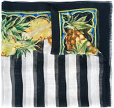 Dolce & Gabbana pineapple print striped scarf - women - Silk - One Size