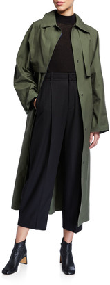 Kassl Waxed Long Cape-Back Trench Coat
