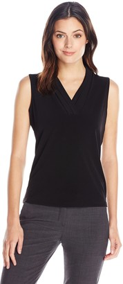 Anne Klein Women's Solid Triple Pleat Top