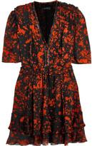 Isabel Marant Irina Leather-trimmed Printed Stretch-silk Mini Dress - Red