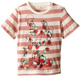Stella McCartney Chuckle Short Sleeve Striped Strawberries Tee Girl's Short Sleeve Pullover