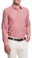 Kiton Mini Floral-Print Sport Shirt, Red