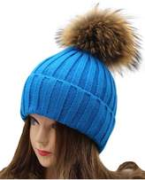 "VamJump Women 7.1""Detachable Real Raccoon Fur Pom Pom Cap Knit Beanie Hat"