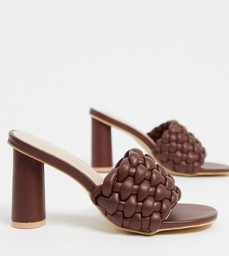 Z Code Z Z_Code_Z Exclusive Shani vegan woven heeled mules in chocolate brown