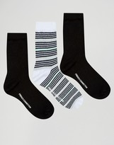French Connection Stripe Glitter Sock Two Pack