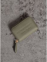 Burberry Textured Leather Ziparound Coin Case, Green