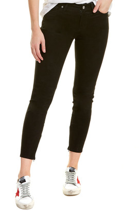 7 For All Mankind The Ankle Black Suede Skinny Leg